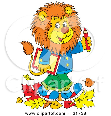 Clipart Illustration of a Smart Young Male Lion Wearing Clothes, Walking Through Fallen Leaves And Carrying A Book And Pencil To School by Alex Bannykh
