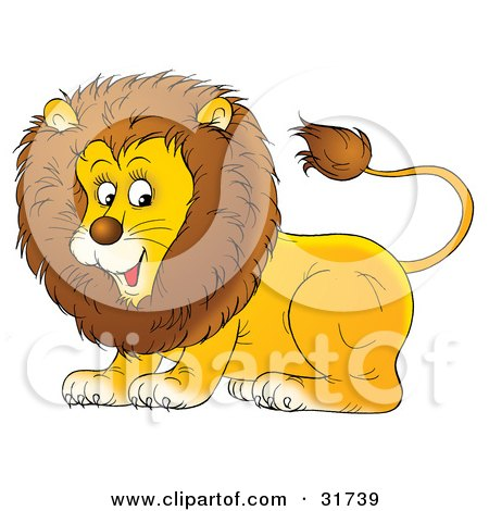 Clipart Illustration of a Playful Young Male Lion With A Furry Mane by Alex Bannykh