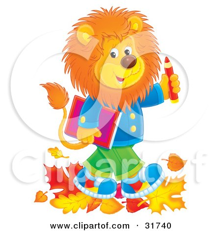 Clipart Illustration of a Young Male Lion Wearing Clothes And Walking Through Leaves On His Way To School by Alex Bannykh