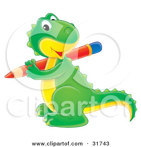 Clipart Illustration of a Cute Green And Yellow Baby Dinosaur Smiling At The Viewer While Writing With A Red Pencil by Alex Bannykh