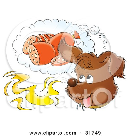 Clipart Illustration of a Happy Puppy Day Dreaming Of Sausage While Catching A Whiff Of Food In The Air by Alex Bannykh