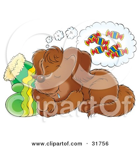 Clipart Illustration of a Brown Puppy Drooling While Sleeping On A ...