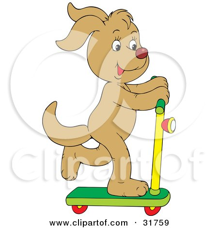 Clipart Illustration of a Tan Dog Having Fun While Riding On A Scooter by Alex Bannykh