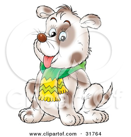 Clipart Illustration of a Chubby Spotted Dog Wearing A Scarf, Sitting And Hanging Its Tongue Out by Alex Bannykh