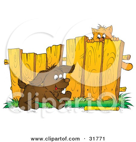 Clipart Illustration of a Scared Kitty Hanging From A Fence, Watching A Puppy Fetch A Stick by Alex Bannykh