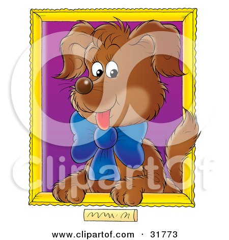 Clipart Illustration of a Portrait Of A Brown Puppy Wearing A Blue Bow With A Purple Background by Alex Bannykh