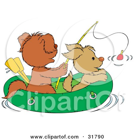 Clipart Illustration of Two Puppies Fishing In A Raft by Alex Bannykh
