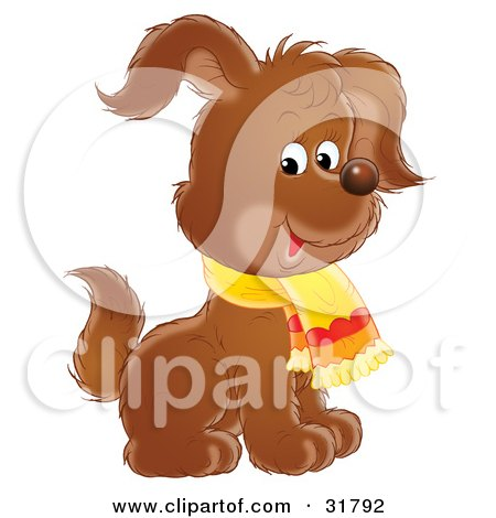 Clipart Illustration of an Adorable Brown Puppy Dog Wearing A Scarf, Sitting And Raising One Ear by Alex Bannykh