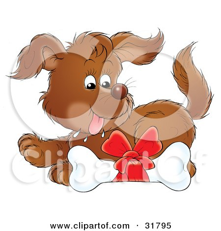 dog bone clipart. Over A Dog Bone With A Red