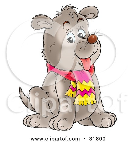 Clipart Illustration of a Chubby Gray Puppy Dog With Faint Spot Markings, Sitting And Wearing A Scarf by Alex Bannykh