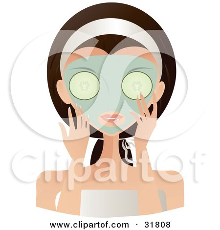 Clipart Illustration of a Beautiful Brunette Caucasian Woman With Green Eyes, Facing Front, Applying A Mask And Holding Cucumbers Over Her Eyes by Melisende Vector