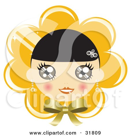 Clipart Illustration of a Pretty Black Haired Girl With Blushed Cheeks, On A Yellow Flower Or Bonnet Background With A Bow by Melisende Vector