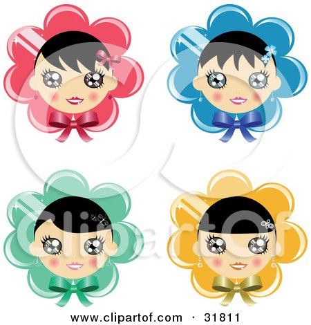 Clipart Illustration of a Set Of Four Black Haired Girls Over Pink, Blue, Green And Yellow Flowers Or Bonnets With Bows by Melisende Vector