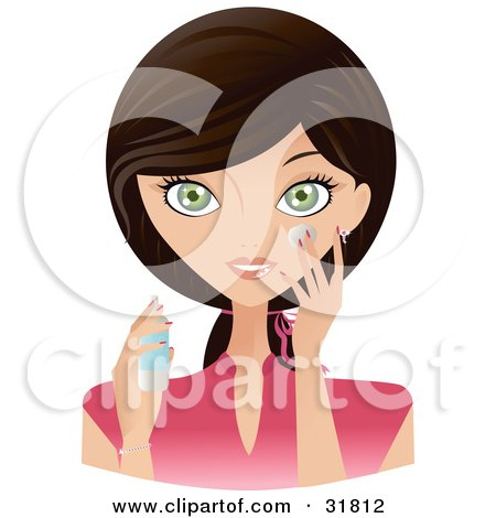 Clipart Illustration of a Beautiful Brunette Caucasian Woman With Green Eyes, Facing Front And Applying Moisturizing Cream To Her Face by Melisende Vector