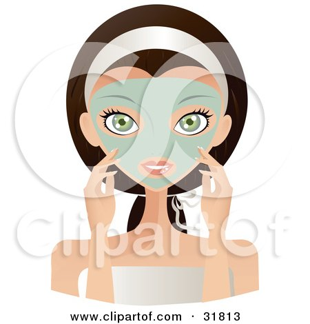 Clipart Illustration of a Beautiful Brunette Caucasian Woman With Green Eyes, Facing Front And Touching The Green Facial Mask On Her Face by Melisende Vector