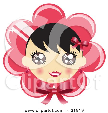 Clipart Illustration of a Pretty Black Haired Girl With Blushed Cheeks, On A Pink Flower Or Bonnet Background With A Bow by Melisende Vector