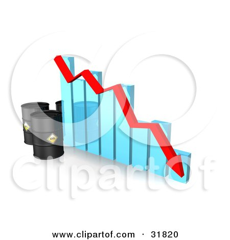 Clipart Illustration of Three Oil Barrels And A Red Arrow Along The Decline Of A Blue Bar Graph by Frog974