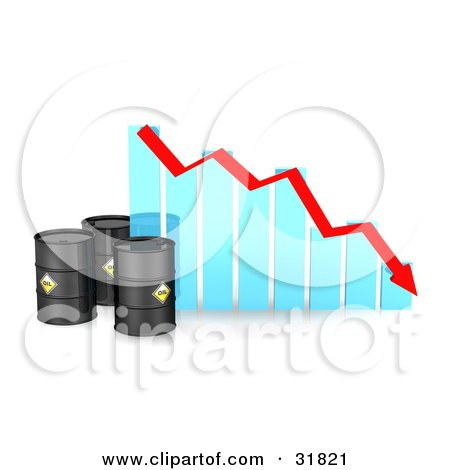 Three Black Oil Barrels By A Blue Bar Graph With A Red Arrow Showing A Decline Posters, Art Prints