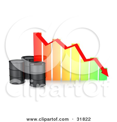 Clipart Illustration of Three Black Unmarked Oil Barrels By A Colorful Bar Graph With A Red Arrow Showing A Decrease by Frog974
