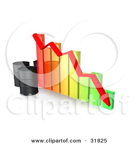Clipart Illustration of Three Unmarked Black Oil Barrels And A Red Arrow Along The Decline Of A Colorful Bar Graph by Frog974