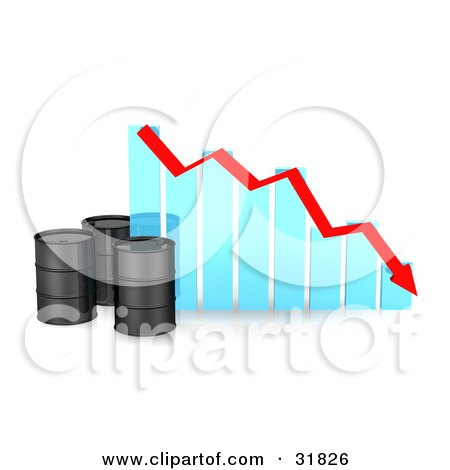 Clipart Illustration of Three Black Unmarked Oil Barrels By A Blue Bar Graph With A Red Arrow Showing A Decrease by Frog974