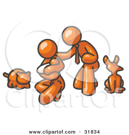 Clipart Illustration of an Orange Family, Father, Mother And Newborn Baby With Their Dog And Cat by Leo Blanchette