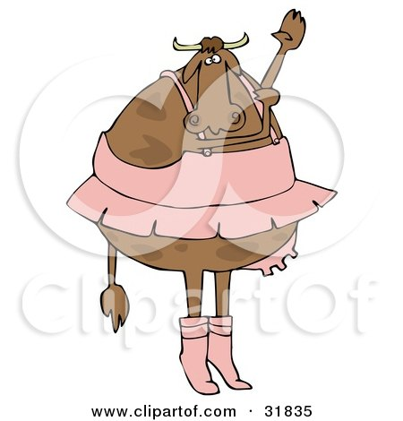 Royalty-free dance clipart picture of a chubby ballerina with udders,