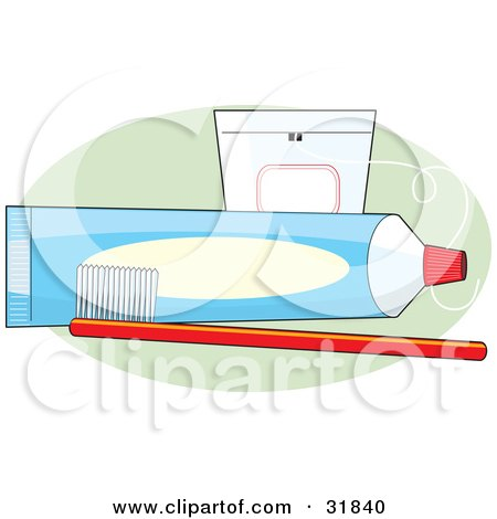 Clipart Illustration of a Red Toothbrush In Front Of An Unmarked Blue Tube Of Toothpaste And A Case Of Floss On A Green Oval, Over A White Background by Maria Bell