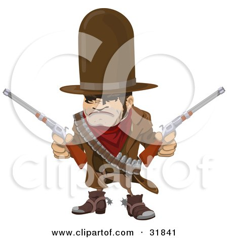 Clipart Illustration of a Western Cowboy Bandit Wearing Bullets And Holding Two Pistils by AtStockIllustration