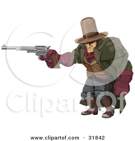 Clipart Illustration of a Tough, Muscular Cowboy In A Hat And Cape, At The Ready With A Pistil by AtStockIllustration