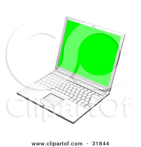 White Laptop Computer Turned Slightly To The Left, With A Green Screen Posters, Art Prints