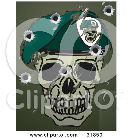 Clipart Illustration of Scratches, Scuffs And Bullet Holes On A Metal Surface With A Skull And Beret Military Motif by AtStockIllustration