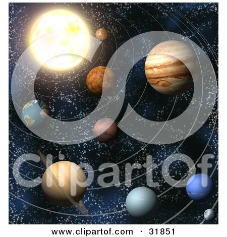 Clipart Illustration of Planets Of Our Solar System In Outer Space, With Lines Of Orbit by AtStockIllustration