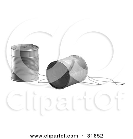Clipart Illustration of a String Connecting Two Tin Cans, Creating A Phone, Symbolizing Communication by AtStockIllustration