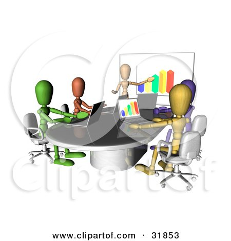 Clipart Illustration of Colorful And Diverse Dummy Figures Using Laptops And A Bar Graph On A Board In A Meeting by AtStockIllustration