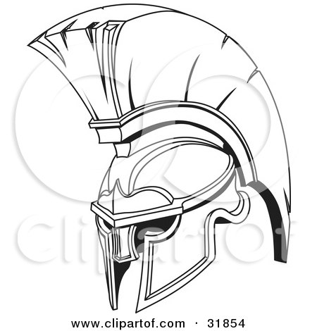Black And White Spartan Or Trojan Helmet, Part Of Body Armor Posters, Art Prints