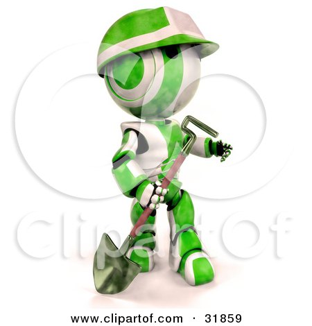 Clipart Illustration of a 3D Green And White AO-Maru Robot With A Matching Hardhat, Carrying A Shovel, Looking Off To The Right by Leo Blanchette