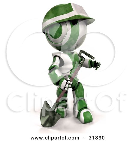 3D Green And White AO-Maru Robot Worker With A Hardhat, Carrying A Shovel And Looking Off To The Right Posters, Art Prints