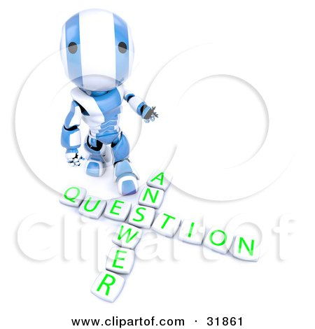 "Clipart Illustration of a 3D Blue And White AO-Maru Robot Looking Upwards And Standing Above Blocks Spelling Out ""Answer Question"" by Leo Blanchette"