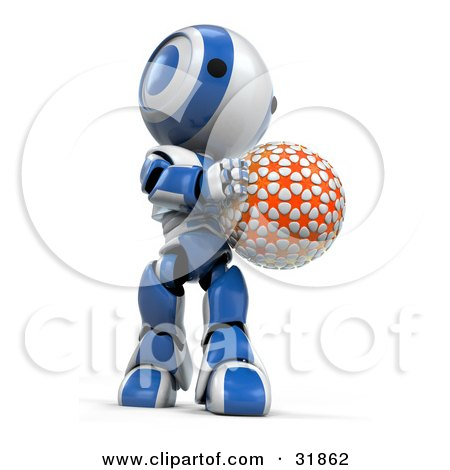 Clipart Illustration of a 3D Blue And White AO-Maru Robot Holding An Orange Planet Or Ball, Looking Down At It by Leo Blanchette