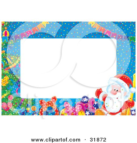 Clipart Illustration of a Stationery Border Of Banners, Gifts, A Christmas Tree And St Nick Over Blue by Alex Bannykh