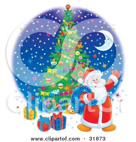 Clipart Illustration of Santa Claus Carrying A Toy Sack And Waving, Standing Near Gifts Under A Christmas Tree Against A Blue Night Sky With Colorful Stars And A Crescent Moon by Alex Bannykh