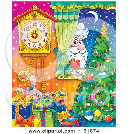 Clipart Illustration of St Nick Peeking In Through A Home Window, Looking In On Toys, A Christmas Tree And Clock On A Snowy Winter Night by Alex Bannykh