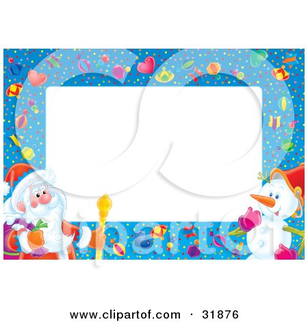 Clipart Illustration of St Nick Carrying A Sack And A Staff, Talking With A Snowman On A Blue Border With Confetti And Gifts With A White Center For Text Or A Photo by Alex Bannykh