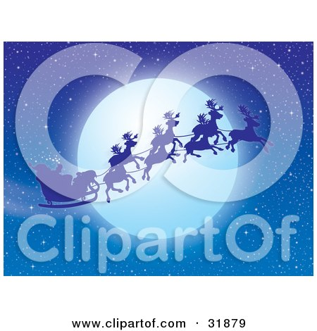 Clipart Illustration of Santa Claus And Reindeer Silhouetted Against A Full Moon In A Night Sky by Alex Bannykh