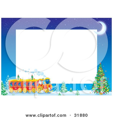 Clipart Illustration Of Kris Kringle Driving A Train Near A Christmas Tree On A Stationery Border With A Crescent Moon And White Text Space