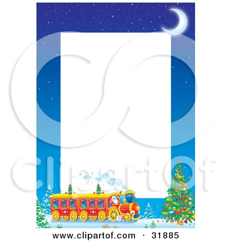 Clipart Illustration of a Crescent Moon Over Kris Kringle Driving A Train Near A Christmas Tree On A Stationery Border With White Text Space by Alex Bannykh