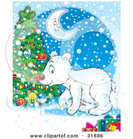 Clipart Illustration of a Cute Polar Bear Near A Christmas Tree, Under A Crescent Moon On A Blue Snowy Background by Alex Bannykh