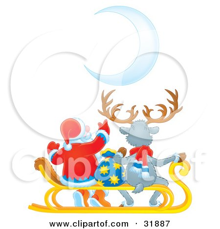 Clipart Illustration of Santa Claus And A Reindeer Seated On A Sled With A Toy Sack, Watching A Crescent Moon by Alex Bannykh