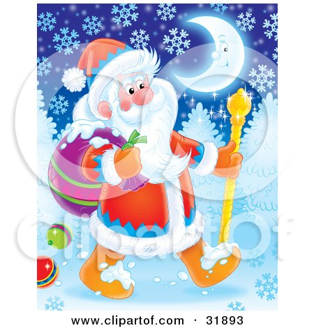 Clipart Illustration of St Nick Walking With A Cane Through A Snowy Winter Night, Under A Crescent Moon, Dropping Baubles From His Toy Sack by Alex Bannykh